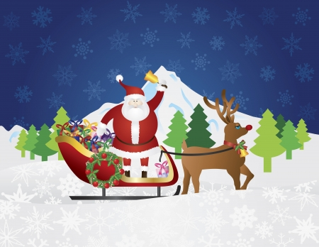 night suit: Santa Claus Ringing Bell on Reindeer Sleigh Delivering Wrapped Presents Traveling Over Winter Snow Scene at Night Background Illustration