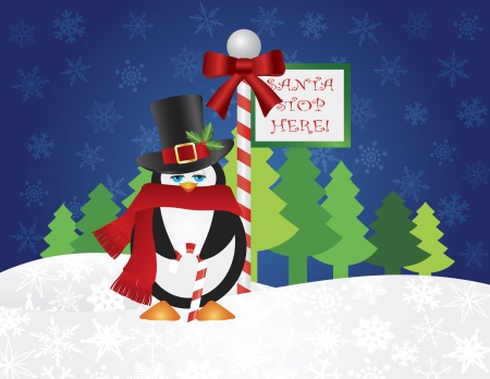 Christmas Penguin with Top Hat and Scarf Candy Cane Standing by Santa Stop Here Sign Post with Night Winter Snow Scene Background Illustration Vector