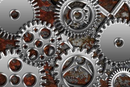 steel bridge: Chrome Silver Metal Gears on Grunge Texture Background Stock Photo