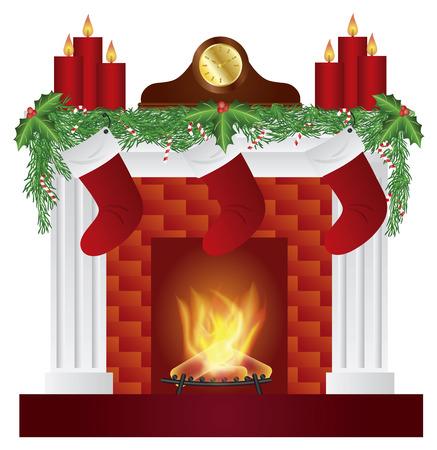 mantel: Camino con decorazione di Natale Ghirlanda calze Candele Mantel Clock isolato su sfondo bianco illustrazione