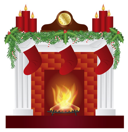 mantel: Fireplace with Christmas Decoration Garland Stockings Candles Mantel Clock Isolated on White Background Illustration Illustration