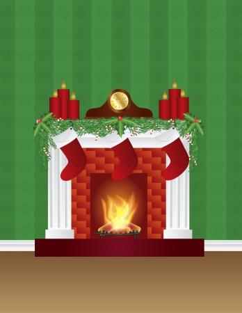 Fireplace with Christmas Decoration Garland Stockings Candles Mantel Clock with Wallpaper Background Illustration