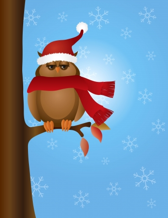 Brown Great Horned Owl with Santa Hat and Red Scarf Sitting on Tree Winter Snow Scene Background Illustration Vector