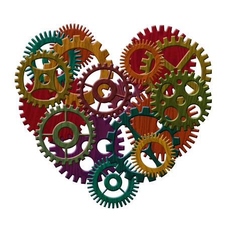 poleas: Color Manchado Engranajes de madera que forman la forma del corazón aislado en blanco ilustración de fondo