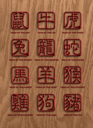 twelve: 12 Chinese Zodiac Animals Text Character in Wood Grain Stamp Chop Sign on Wood Background Illustration  Stock Photo