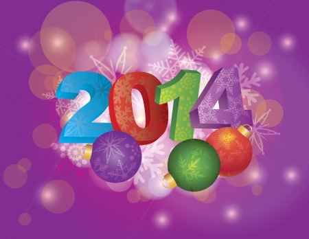 3 dimensional: 2014 New Year Numbers with Snowflakes Pattern and Christmas Ornaments on Bokeh Illustration