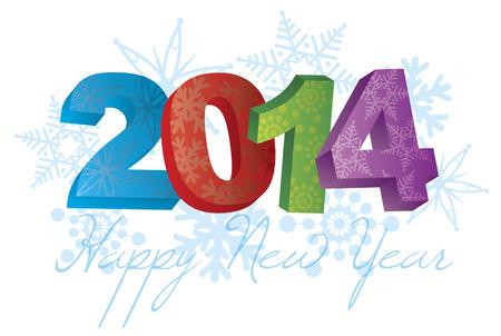 2014 행복 한 새 해 텍스트 및 흰색 그림에 격리 눈송이 패턴의 번호 일러스트