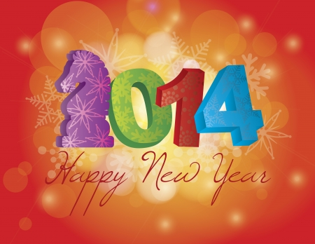 2014 Happy Chinese New Year of the Horse Text and Numbers with Snowflakes Pattern on Bokeh Illustration Vector