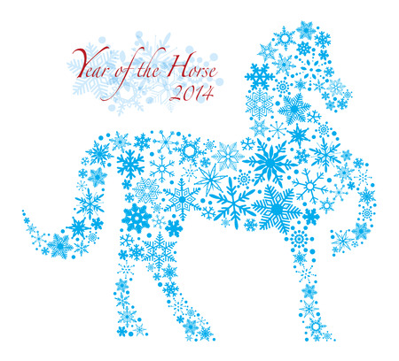 lunar new year: 2014 Chinese Lunar New Year of the Horse Forward Pose Silhouette with Snowflakes Pattern Isolated on White Illustration Illustration
