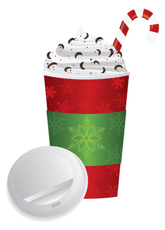 to go cup: Christmas Espresso Coffee Drink with Candy Cane Whipped Cream and Chocolate Sprinkles in To Go Cup with Open Lid and Sleeve Illustration Isolated on White