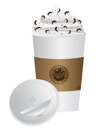 to go cup: Espresso Coffee Drink with Whipped Cream and Chocolate Sprinkles in To Go Cup with Open Lid and Sleeve Illustration Isolated on White  Illustration