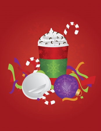 to go cup: Christmas Espresso Coffee Drink with Candy Cane Whipped Cream and Chocolate Sprinkles in To Go Cup with Open Lid and Sleeve on Red Illustration