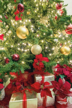 christmas tree decoration with lights ornaments ribbons poinsettia and presents under the tree stock photo