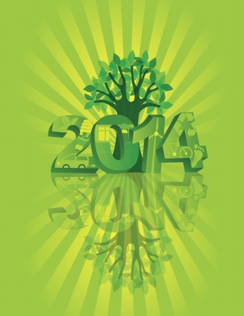 2014 New Year Numerals Go Green Symbols with Tree Isolated on Sunray with Reflection Background Illustration Vector