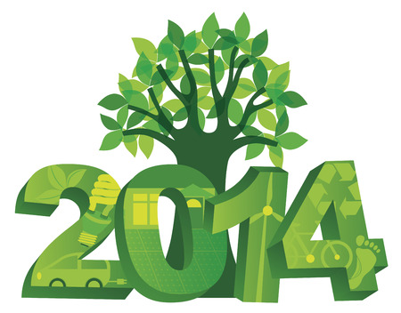go green: 2014 New Year Numerals Go Green Symbols with Tree Isolated on White Background Illustration