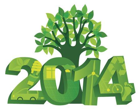 2014 Nieuwjaar cijfers Go Green Symbolen met boom op een witte achtergrond illustratie Stock Illustratie