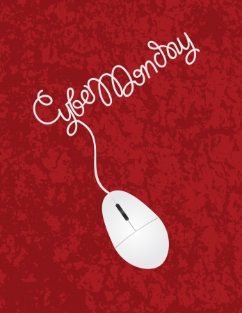 Computer Mouse with Cord Forming Cyber Monday Words on Red Texture Background Иллюстрация