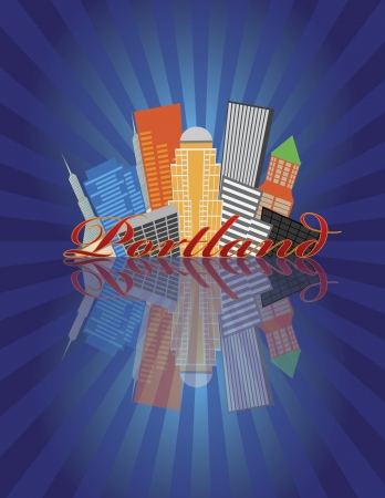 pacific northwest: Portland Oregon Abstract Downtown City Skyline with Blue Sunray Background and Reflection Illustration Illustration