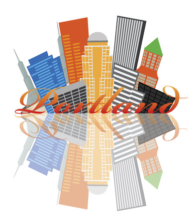 Portland Oregon Abstract Downtown City Skyline Isolated on White Background with Reflection Illustration Vector