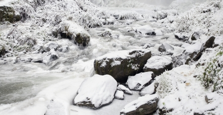 Latourell Falls Creek at Columbia River Gorge Oregon with Icicles and Flowing Stream Frozen in Winter Season Panorama photo