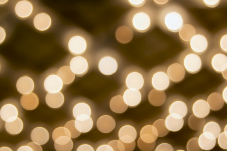 Old Historic Broadway Theater Marquee Ceiling with Blurred Defocused Bokeh Blinking Lights