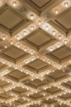 Old Historic Broadway Theater Marquee Ceiling Blinking Lights Vertical 免版税图像