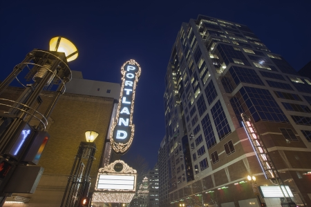 Broadway Portland Oregon Downtown Entertainment District at Evening Blue Hour with Blank Marquee Sign photo
