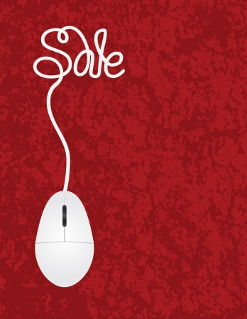 Computer Mouse with Cord Forming Sale Word For Online Promotion on Red Texture