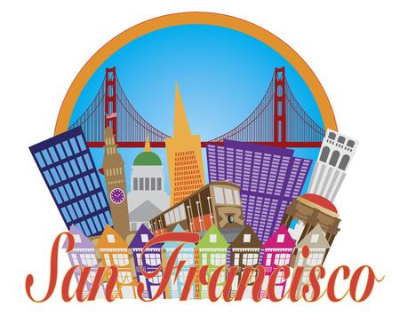 San Francisco Cailfornia Résumé Downtown City Skyline avec le Golden Gate Bridge et de la télécabine isolé sur blanc Illustration Banque d'images - 24449716