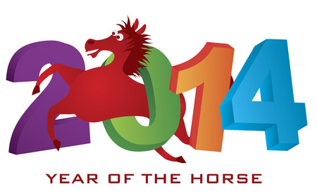 2014 Abstract Red Chinese New Year of the Horse Leaping Over Colorful Numerals Isolated on White Illustration Vector