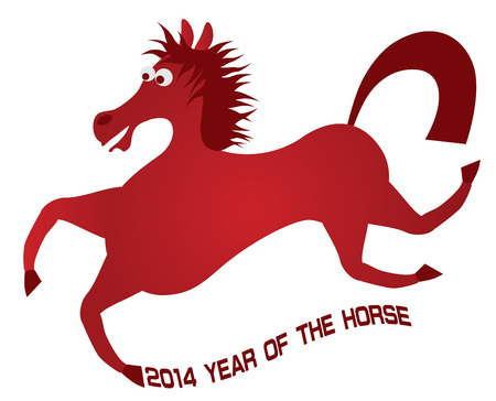2014 Abstract Red Chinese New Year of the Horse with Text Isolated on White Background Illustration Stock Vector - 24449758