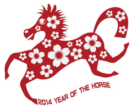 2014 Abstract Red Chinese New Year of the Horse with Cherry Blossom Flower Motif and Text Isolated on White Background Illustration Stock Vector - 24449760
