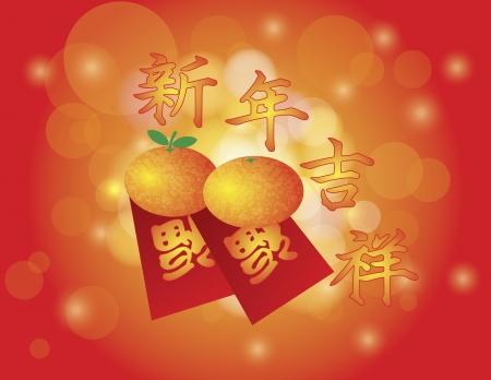 Chinees Nieuwjaar Mandarijntjes en Red Money Pakketten met Welvaart Tekst en Good Luck voor het nieuwe jaar Tekst op Bokeh Vage Achtergrond Illustratie
