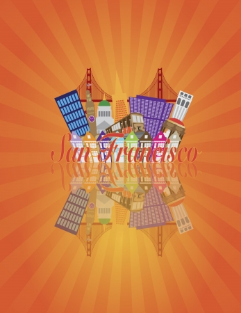 San Francisco California Abstract Downtown City Skyline with Golden Gate Bridge and Cable Car and Reflection Isolated on Sun Rays Illustration