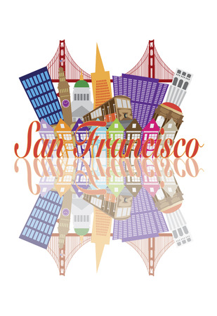 telegraph: San Francisco California Abstract Downtown City Skyline with Golden Gate Bridge and Cable Car and Reflection Isolated on White Illustration