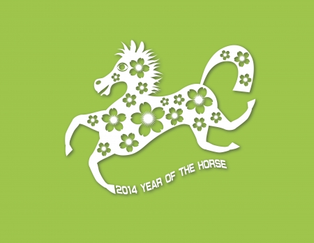 2014 Abstract Chinese New Year of the Horse with Cherry Blossom Flower Motif and Text Paper Cut Effect on Green Illustration Vector