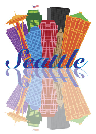 Seattle Washington Abstract Downtown City Skyline with Reflection Isolated on White Background Illustration