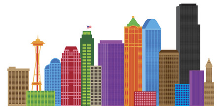 Seattle Washington Downtown City Skyline in Colors Isolated on White Background Illustration