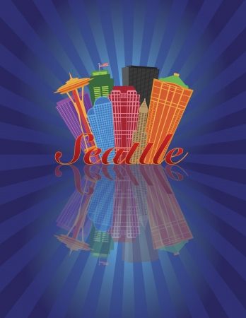 Seattle Washington Abstract Downtown City Skyline with Reflection on Blue Sunray Background Illustration