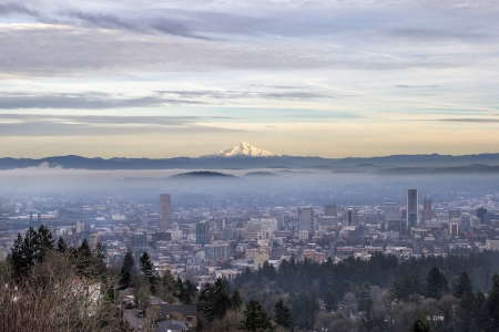 oregon cascades: Portland Oregon Downtown Foggy Cityscape Skyline with Mount Hood at Sunset