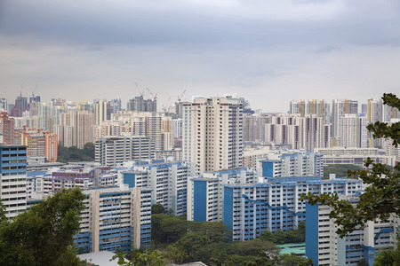 Singapore Housing Development Board Apartment Buildings Cityscape Banco de Imagens