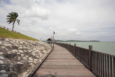 breezy: Changi Point Beach Coastal Walk with Pulau Ubin Island View on a Breezy Day in Singapore Stock Photo