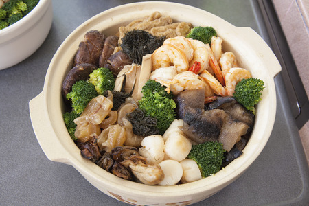Poon Choi Hong Kong Cantonese Cuisine Big Feast Bowl for Chinese New Year Closeup
