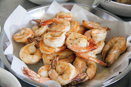 feast: Cooked Prawns as Ingredients for Chinese New Year Big Bowl Feast Dish Stock Photo