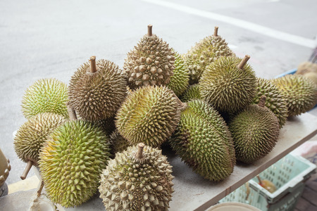 Durian Fruits Selling by the Road Side in Malaysia