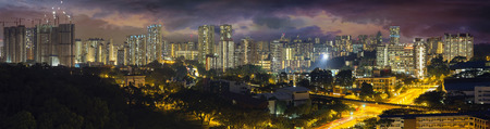 commonwealth: Singapore Housing Estate with Stormy Sky at Evening Time Panorama