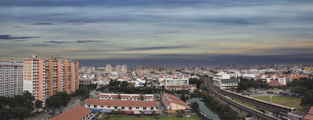 Singapore Eunos Housing Estate by the MRT Train Station Panorama photo