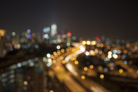 Ampang Kuala Lumpur Elevated Highway AKLEH with City Skyline in Malaysia at Night Blurred Defocused Bokeh Background