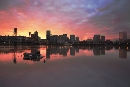 eastbank: Colorful Sunset Over Portland Oregon Downtown Waterfront City Skyline