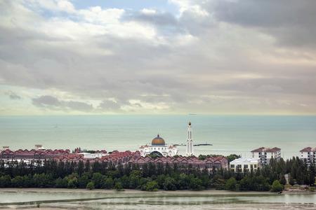 straits: Masjid Selat Melaka Mosque on the Man-made Island of Pulau Melaka by the Straits of Malacca, Malaysia